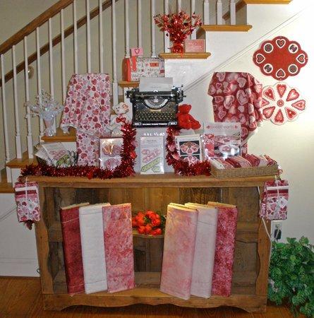 Knight's Quilt Shop :                   Their valentine's display