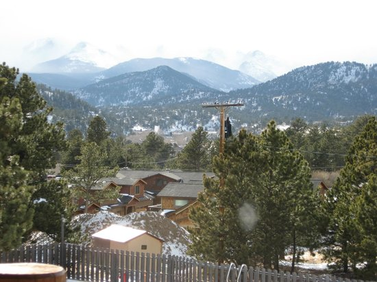 Hotel Estes:                   Winter, so some high clouds enshrouding the peaks