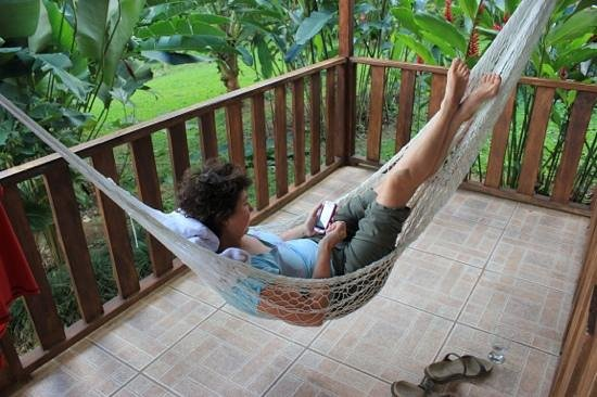 Hotel Rancho Cerro Azul:                   Relaxing on the back porch