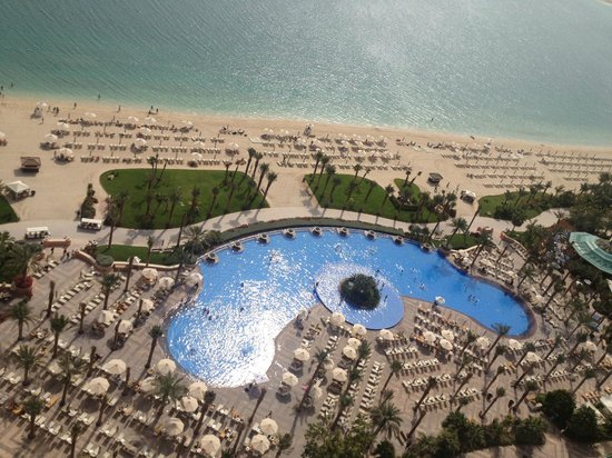 Atlantis, The Palm: View of pool, beach and Arabian Sea from the room