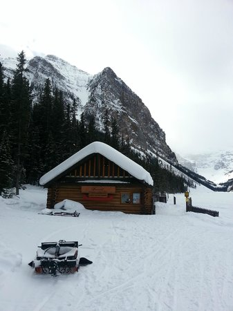 Fairmont Chateau Lake Louise:                   Cabin on the walking path (Rentals for snowshoes and skies I believe)