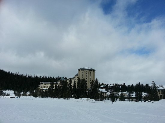 Fairmont Chateau Lake Louise:                   View of hotel from on the lake