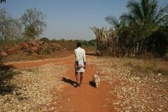 Geese Haven Homestay And Farm :                   Rajendran and Happy on our morning walk