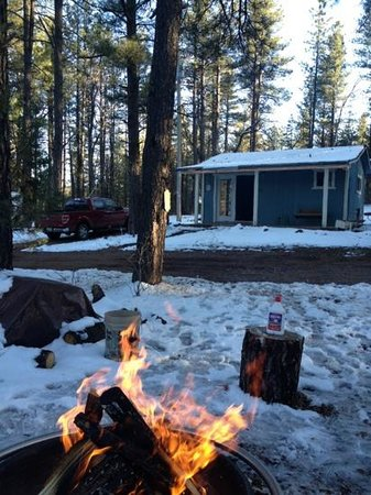 Mountain Meadows Cabins:                   fire and cabin