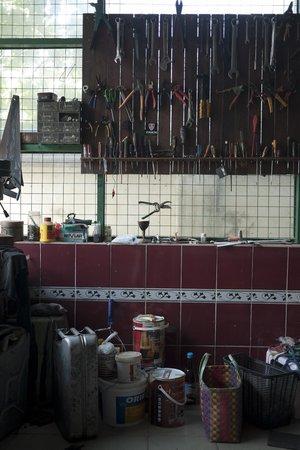 Bike World Bed, Breakfast & Bike:                                     Bike tool shed in the garage