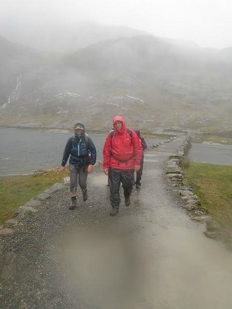 Mobile Adventure - Day Adventures:                   Crossing the bridge down the Miners Track, Snowdon