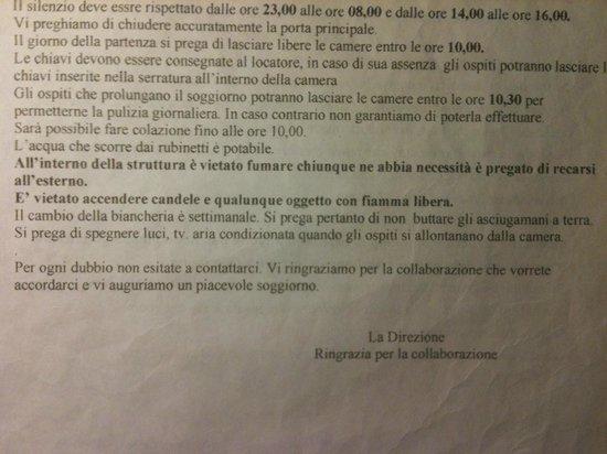 regolamento B&B presente in stanza - Picture of B&B Soggiorno ...