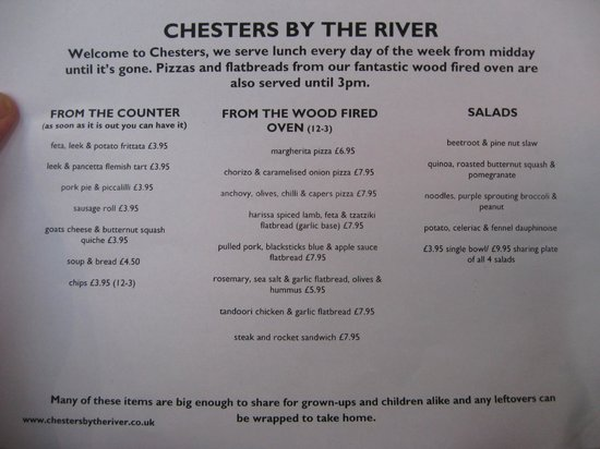Chesters By The River: Menu