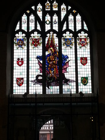 St Michael's Church:                   Staned glass windo with the Services.