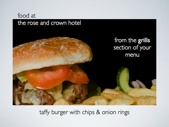 Rose and Crown: taffy burger with chips & onion rings