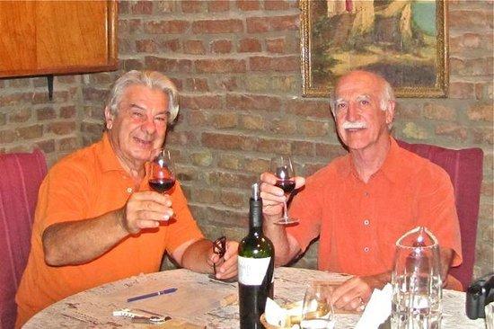 Bodega Familia Antonietti:                   Andres and John tasting a Malbec in the cueva