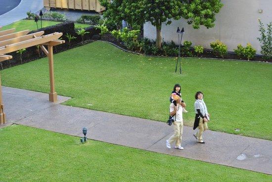 Courtyard King Kamehameha's Kona Beach Hotel:                   駐車場からのアプローチ芝が刈り込まれていてきれい