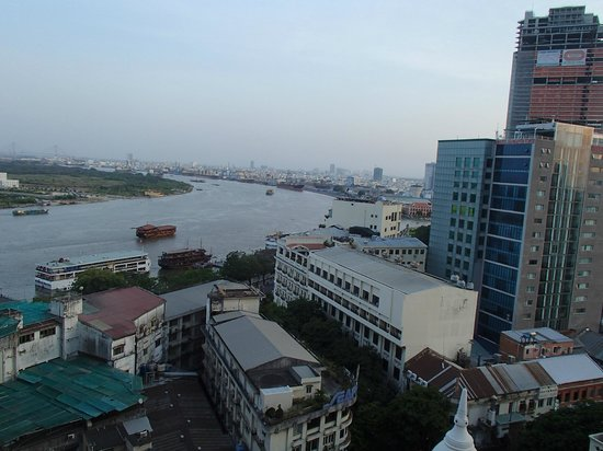Grand Hotel Saigon :                                     View of the Saigon river from the room