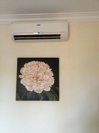 Malika d'Angkor Boutique Hotel: Air conditioning + stains on wall