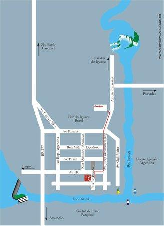 Hotel Cassino Iguassu Falls: Mapa localização Hotel Cassino