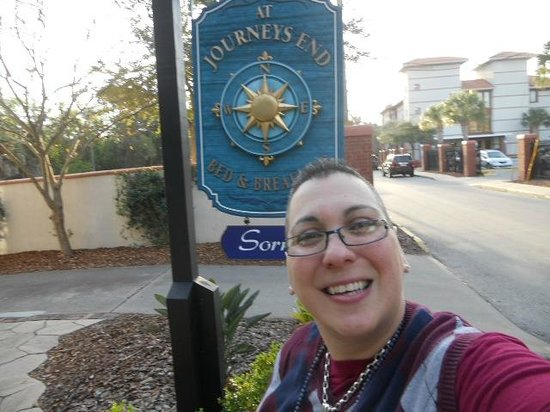 At Journey's End Bed & Breakfast :                   A dorky pic of me and the B & B signage.. LOL..