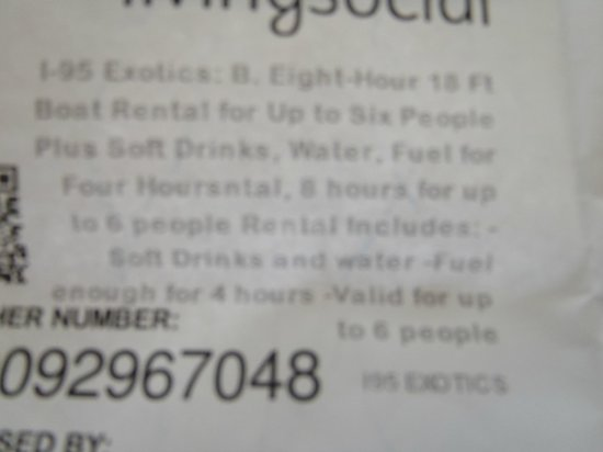 i95 Exotics Tours:                                     My voucher stating the fuel is included for 4 hours!! they r