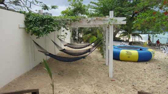 Royal Decameron Montego Beach:                   Hammock area on far side of beach