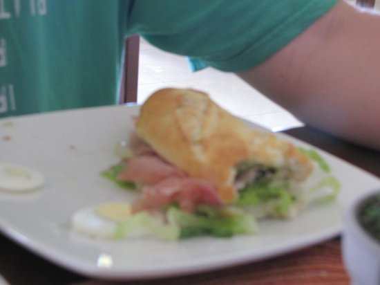 Between 2 buns:                                     Hubby's godfather sandwich