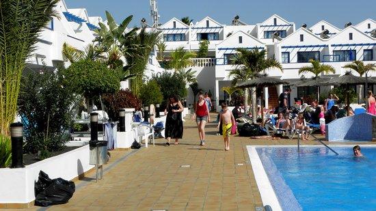 Cinco Plazas:                   Poolområde og lejligheder i stue og på første sal