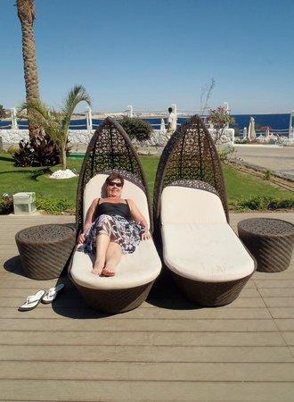 Sunrise Grand Select Arabian Beach Resort:                   poolside loungers