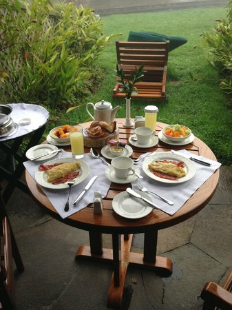 "Belmond Sanctuary Lodge: room service breakfast, with a ""view""."