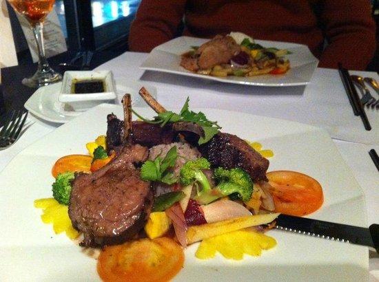Sante Restaurant:                   Rack of Lamb with thyme, port, seasonal veggies and rice