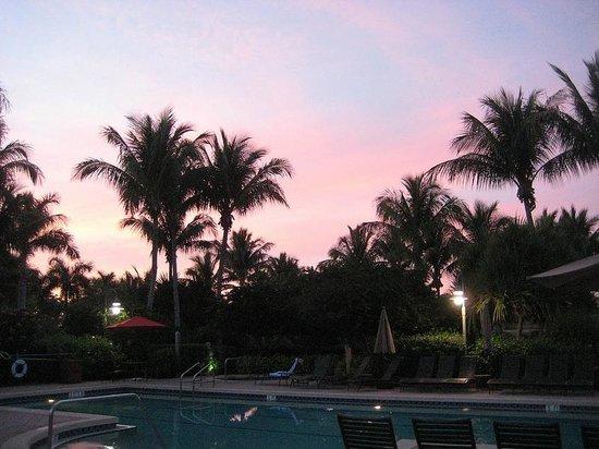 Hyatt Residence Club Bonita Springs, Coconut Plantation:                   Another beautiful sunset, as seen behind the main building.