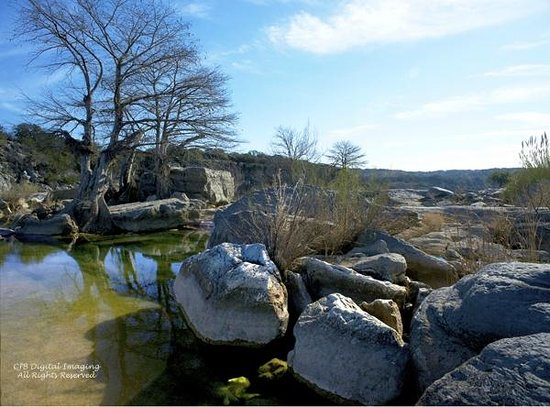 Pedernales Falls State Park:                   hike back in to the left of the falls