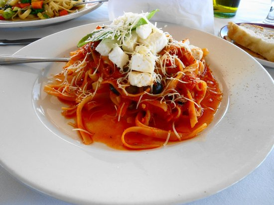 Casanova by the Sea:                   Fresh tomato sauce with capers, olives and feta