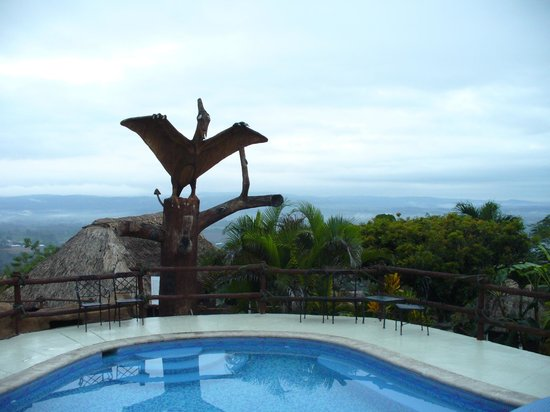 Cahal Pech Village Resort:                   Not sure why there was a pterodactyl here but?