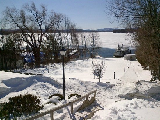 The Wolfeboro Inn:                   View from front of hotel looking down at the lake