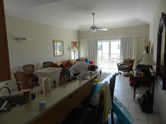 Royal West Indies Resort:                   Our spacious (& messy) family room.