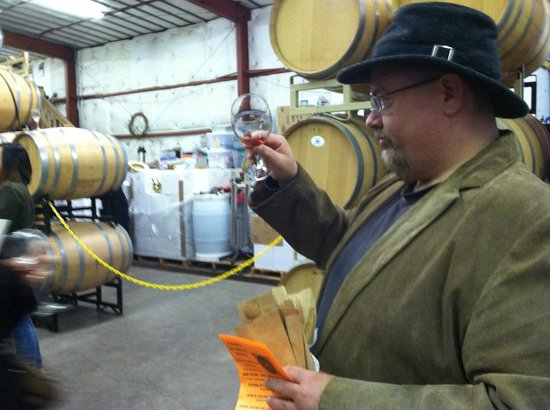 Sonoita Vineyards :                   Checking the color and viscosity.
