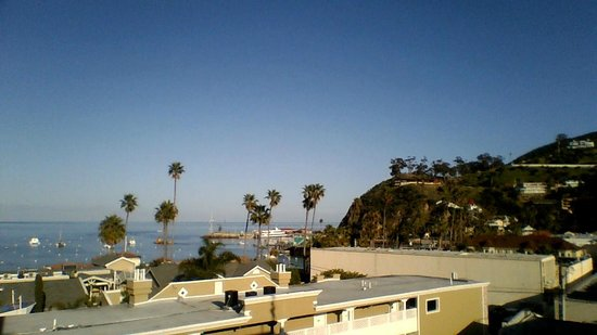 Catalina Island Inn:                   Beach/hill view from the hotel room.