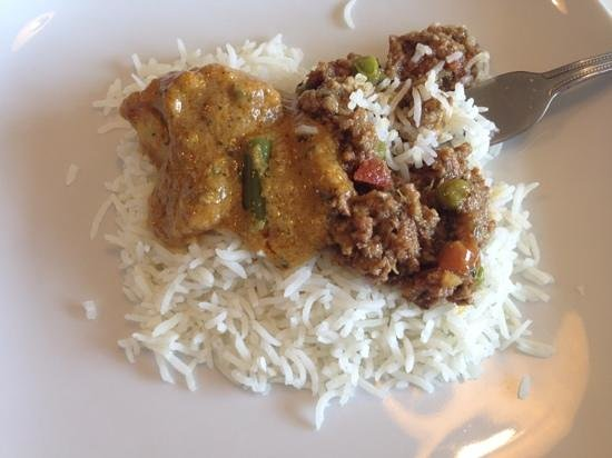Mango Chutney: Vegetable curry and Keema Matar (Lamb)
