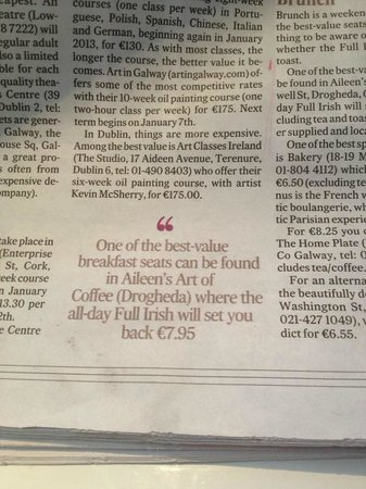 Aileen's Art of Coffee: Review from the Irish Times National Newspaper