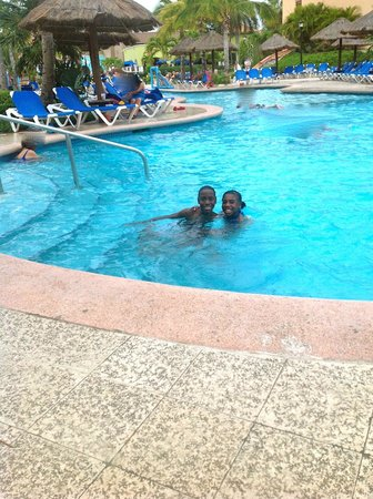 Sandos Playacar Beach Resort:                   A lot of pool side activities during the day