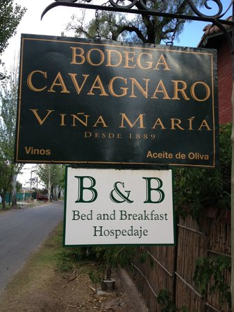 Bodega Cavagnaro:                   The sign out front on the street.