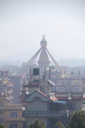 Hyatt Regency Kathmandu:                   The stupa from the hotel