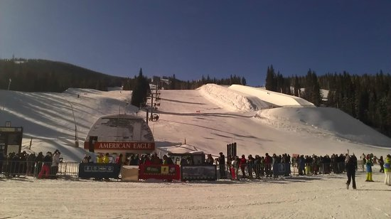 Copper Mountain Ski Area:                   Half-pipe viewed from Center Village by American Eagle