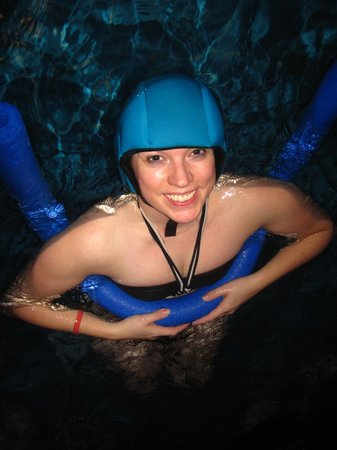 Icelandair Hotel Reykjavik Natura:                   Playing with the range of pool equipment - the noodles and floating hats are g