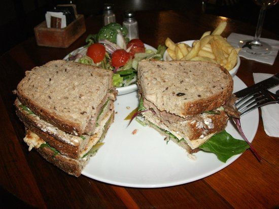 cafe-hillel:                   Delicious Hillel Club Sandwich!