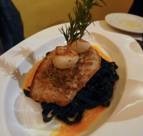 Bacchus: Squid ink pasta, topped with mahimahi, scallops & fresh rosemary