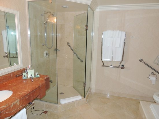 Prince of Wales:                   Lovely glassed in shower with a very nice towel warmer, great rainfall shower