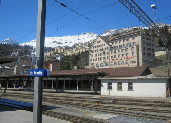 Lake of Staz (Lej da Staz):                   St. Moritz station