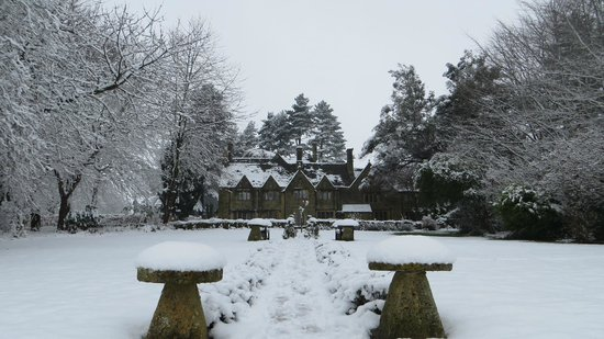 Charingworth Manor: The back of the Manor post snowfall