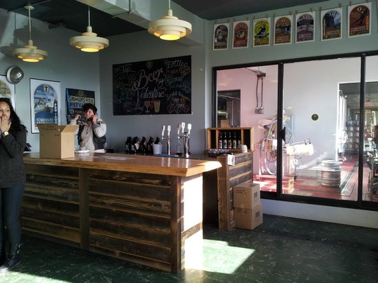 Townsite Brewing Inc:                   Tasting room and view of beer-making equipment