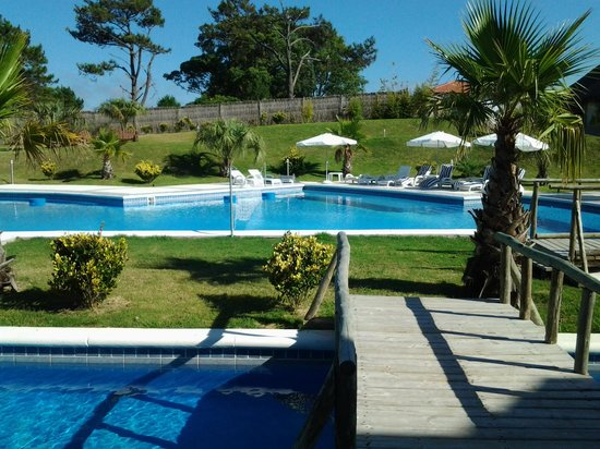 Chihuahua Resort:                   vista desde la habitación hacia la piscina.