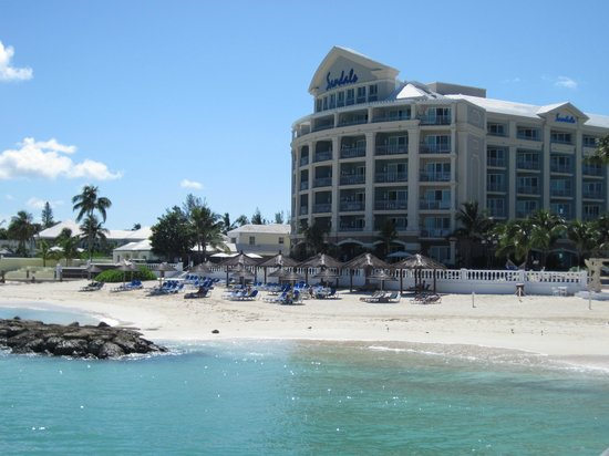 Sandals Royal Bahamian Spa Resort & Offshore Island:                   View of the beach and Balmoral tower